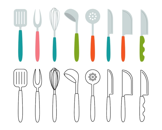 Küchenwerkzeug gabel schneebesen, löffel utensilien cartoon-set