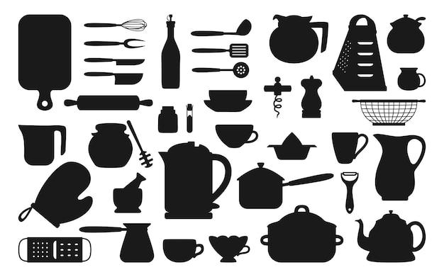 Küchenwerkzeug schwarzer silhouette eingestellt