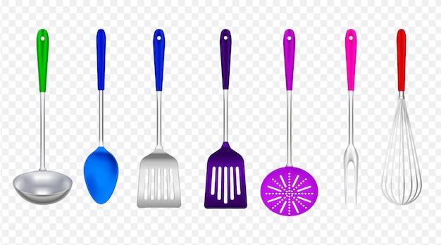 Küchenwerkzeugmetall mit buntem realistischem plastiksatz mit dem schöpflöffelspachtelabschäumer, der die gabel transparent kocht