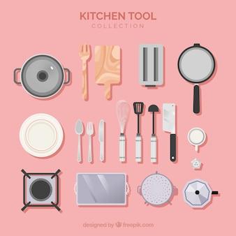 Küchenwerkzeugsammlung in der flachen art