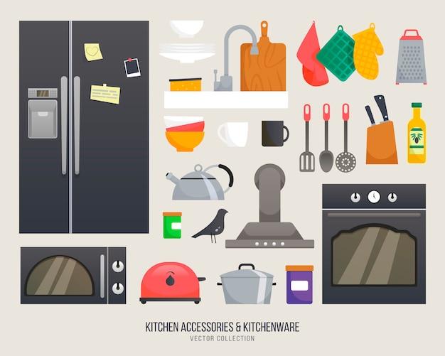 Küchenzubehör. geschirrsammlung. set geschirr und besteck. isolierte ikone des kücheninnenobjekts. küchenutensilien für einfaches selbstgemachtes design.