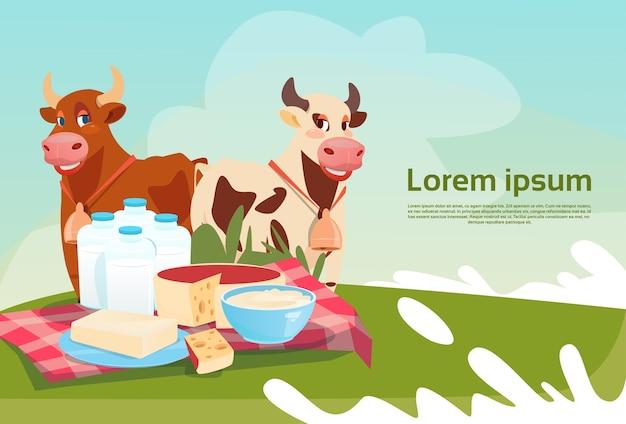 Kühe frische milch milchprodukte eco farming banner