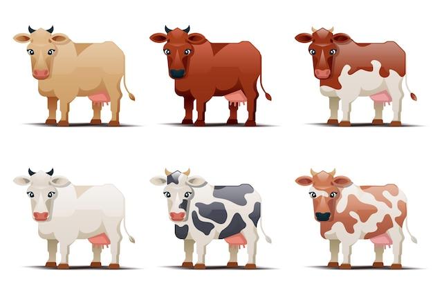 Kühe verschiedener farben auf weißem hintergrund. gefleckte kuhillustration