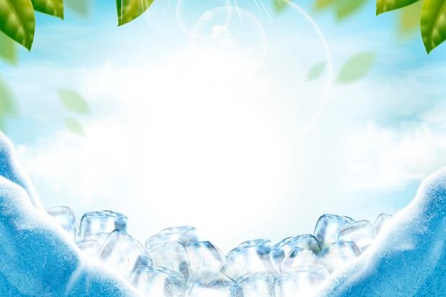 Kühle eishintergrund mit grünen blättern und sonnenstrahlen in der 3d-illustration