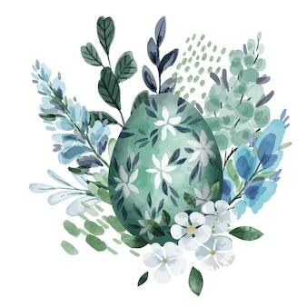 Kühle grüne blumenosterkomposition mit eiern