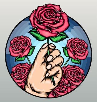 Kühle hand, die rose hält.