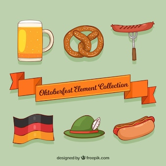 Kühle packung von hand gezeichneten deutschen elementen