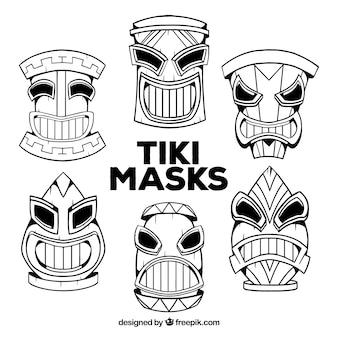 Kühle sammlung von hand gezeichneten tiki masken