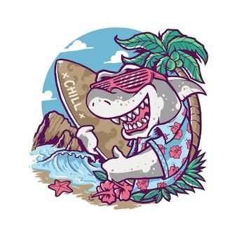 Kühle sommer-haifisch-ferien-karikatur-illustration