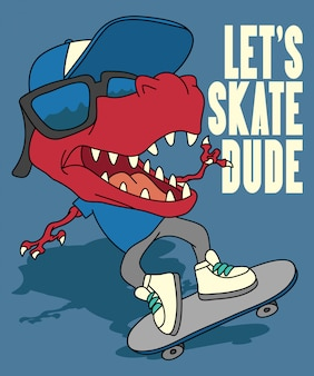 Kühler dinosaurier, der vektordesign skateboard fährt