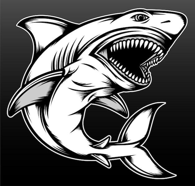 Kühler haifisch lokalisiert auf schwarz