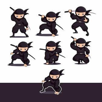 Kühler schwarzer ninja-cartoon unter verwendung der klinge bereit anzugreifen