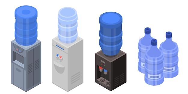 Kühler wasserikonen eingestellt. isometrischer satz kühlere wasservektorikonen für das webdesign lokalisiert auf weißem hintergrund