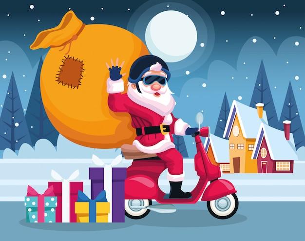 Kühler weihnachtsmann auf einem motorrad mit großer tasche in der schneebedeckten nacht, bunt, illustration