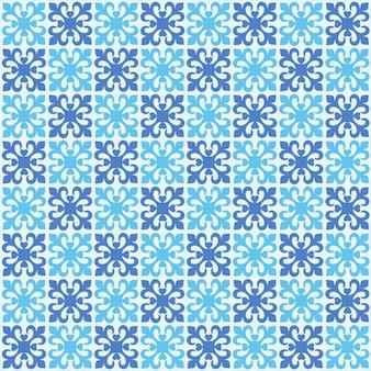 Kühles blaues blumenhintergrundmuster mit quadratischer fliesenbeschaffenheit