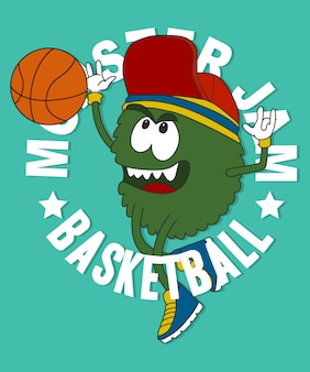 Kühles monster, das basketballvektordesign spielt