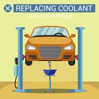 Kühlmittel ersetzen. auto angehoben tankstelle.