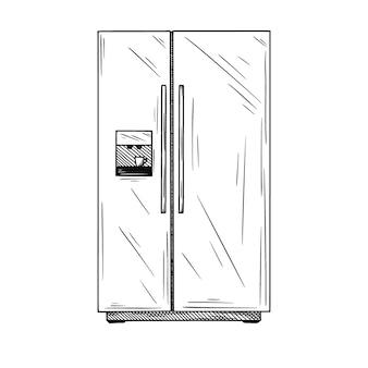 Kühlschränke auf weißem hintergrund. illustration eines skizzenstils.