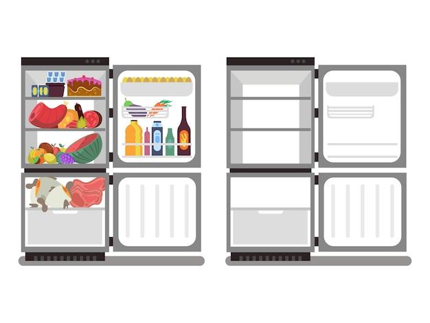 Kühlschränke mit lebensmitteln gefüllt und leer