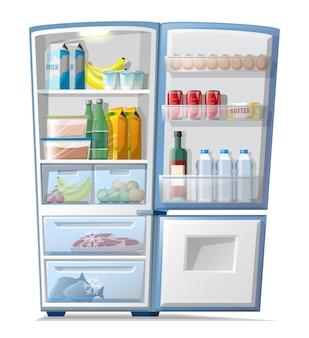 Kühlschrank des vektorkarikaturartes mit lebensmitteln in gefrorenem fleisch und fisch, flaschen wasser und saft