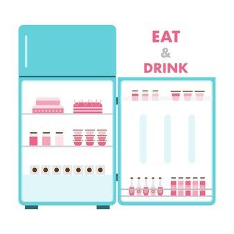 Kühlschrank mit essen geöffnet