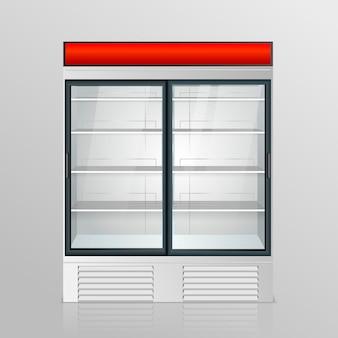 Kühlschrank mit transparentem glas isoliert. kühlschrank-schaufenster auf weißem hintergrund. vektor