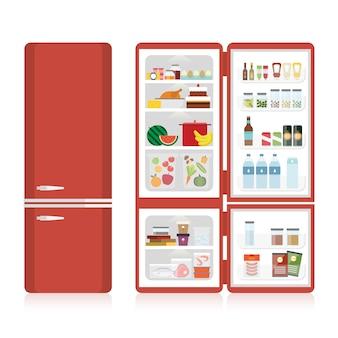 Kühlschrank voller verschiedener lebensmittel