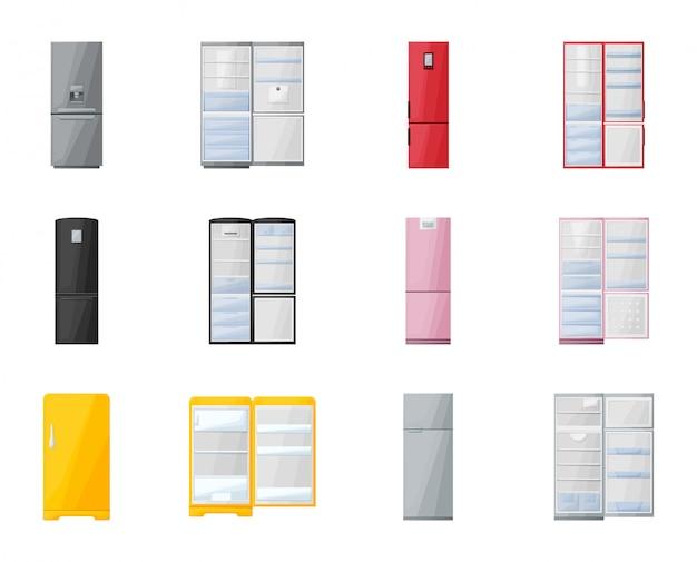 Kühlschrankvektorkarikaturillustration küchenkühlschrank-vektorikone lokalisierter karikatursatz des modernen kühl- und gefrierschranks lokalisierter ikonenkühlschrank für lebensmittel.