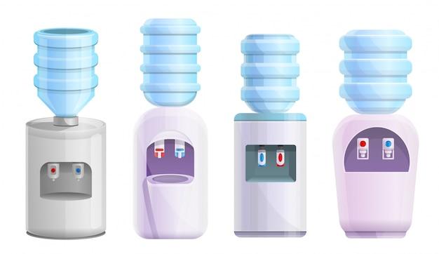 Kühlwassersatz. karikatursatz kühleres wasser