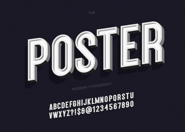 Kühne plakat alphabet trendige typografie ohne serife 3d-stil für buch