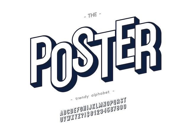 Kühne plakatalphabet moderne typografie ohne serifen-3d-stil für buch