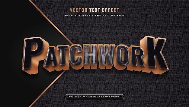 Kühner und eleganter textstil mit patchwork-effekt und plastikfolie im schwarz-gold-konzept