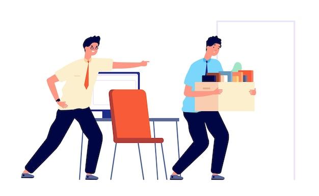 Kündigung des arbeitnehmers. arbeitslosigkeit von büroangestellten, entlassener job. verärgerter geschäftsmann und unglücklicher mann. guy entlassung von der arbeit-vektor-illustration. kündigung, arbeitslosenhilfe, managerbüro gefeuert