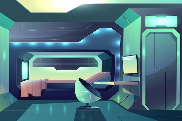 Künftiges raumschiff-crewmitglied mit minimalistischem innenraum und neonfarbenem umgebungslicht