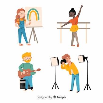 Künstler bei der arbeit flache bauform