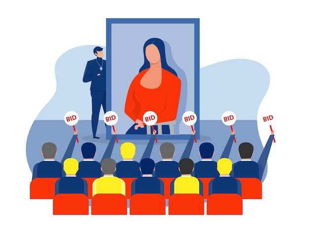 Künstler, der auf der bühne vor publikum steht und präsentation mit kunst für gebote macht