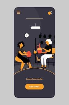 Künstler, die an keramik auf mobiler app arbeiten