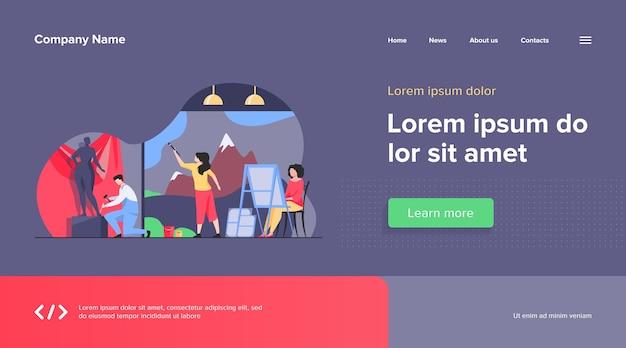 Künstler erstellen webvorlage für kunstwerke. kreative figuren malen, zeichnen und formen in der werkstatt. studio, grafikdesign und kunstkonzept