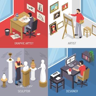 Künstler-isometrisches konzept des entwurfes