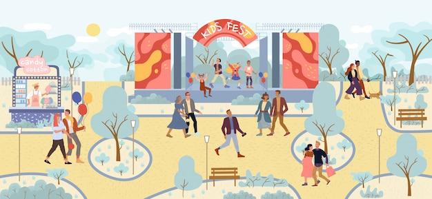 Künstler kinder musik band leistung im park
