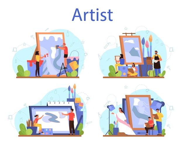 Künstler-konzeptset. idee von kreativen menschen und beruf. männlicher und weiblicher künstler, der vor großer staffelei oder leinwand steht und pinsel und farben hält.