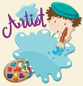 Künstler mit pinsel und palette
