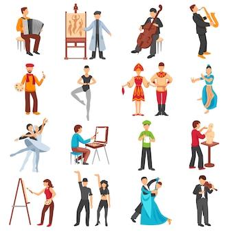 Künstler people icons set