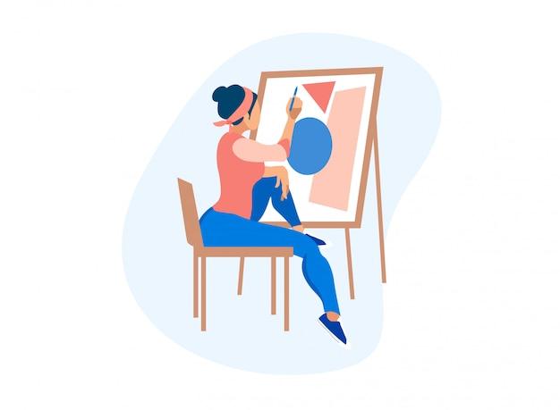 Künstlerin, die geometrische figuren auf leinwand zeichnet