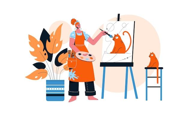 Künstlerin, die porträt ihrer roten katze auf leinwand zeichnet.