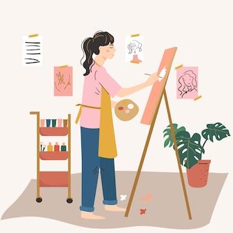 Künstlerin malt auf staffelei. frauenhobby, tätigkeit, beruf. kreativität zu hause konzept.