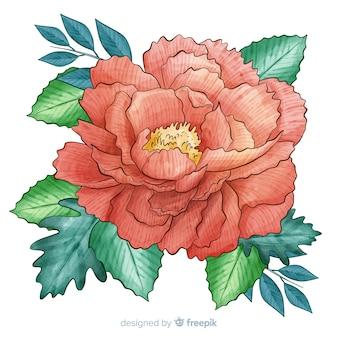 Künstlerische aquarellkorallenblume
