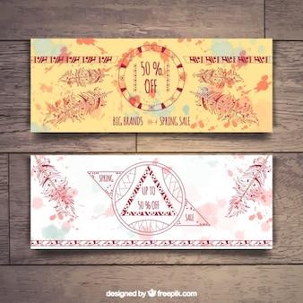 Künstlerische boho banner mit handgezeichneten ornamenten