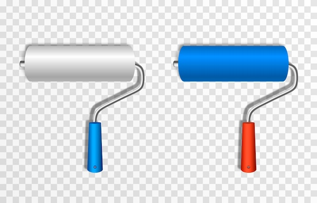 Künstlerische farbrolle baurolle mit blauer farbe png roller für farbzeichnungskonstrukt