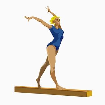 Künstlerische gymnastik schwebebalken sportler sportler spiele set sportliche menschen set wettbewerb